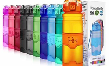HoneyHolly Sports Water Bottle - 400ml/500ml/700ml /1L for Kids, Bike, Cycling, Running, Bpa Free Plastic Hydration Drinking Bottles with Filter, Flip Top Open with 1 Click Reusable Leakproof Lid