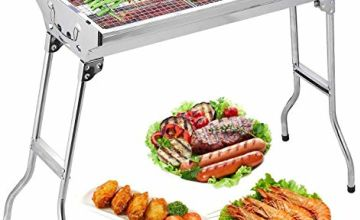 Uten Barbecue Grill Stainless Steel BBQ Charcoal Grill Smoker Barbecue Folding Portable for Outdoor Cooking Camping Hiking Picnics Backpacking Large