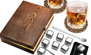 Whiskey Stones,Reusable Chilling Stainless Steel Whiskey Rocks,Ice Stones Set of 9,Come with Stainless Steel Tongs,Storage Pouch and Classy Coasters by AYAOQIANG