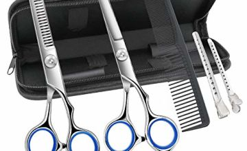Hairdresser Scissors Set, Professional Hair Cutting Scissors and Hairdressing Thinning Scissors for Salon, Barbers or Home Use, Light and Sharp (Silvery)