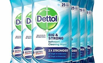 Dettol Big and Strong Bathroom Wipes, 25 Wipes (6 Packs)