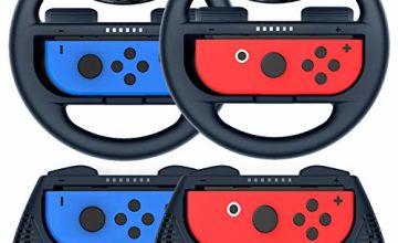 COODIO Switch Joy-Con Wheel and Grip, Switch Racing Wheel, Joy-Con Hand Grip Case For Mario Kart Game / Nintendo Switch Joy-Con Controller, Black (Deluxe 4 Packs)