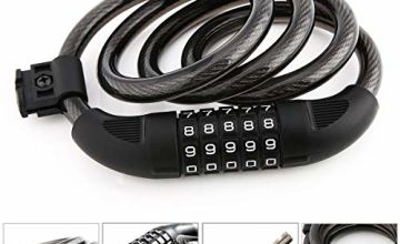 CCBETTER High Security 5 Digit Resettable Combination Colling Lock for Bicycle Outdoors 4 Feet Black