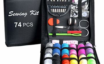 Sewing KIT, DIY Sewing Supplies with Sewing Accessories, Portable Mini Sewing Kit for Beginner, Traveller and Emergency Clothing Fixes, with Premium Black Carrying Case