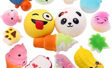 Cosy Life Squishies Toys Pack , 15 Pcs Slow Rising Squishy Toys Soft Toy Squeeze Stress Relief Squishys for Boys/ Girls Including Medium Mini Kawaii Toys