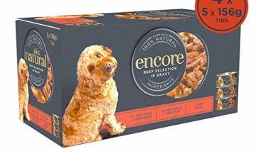 Encore 100% Natural Wet Dog Food, Multipack Beef Steak Selection 156 g Tin, Pack of 20