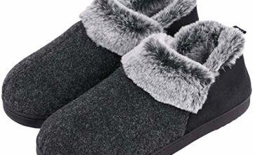 VeraCosy Ladies' Wool-Like Fleece Clog Slippers, Comfort Memory Foam Anti-Slip House Shoes