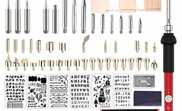 99Pcs Wood Burning Kit, Pancellent Professional Woodburning Tool with Soldering Iron, Creative Tool Set Adjustable Temperature Soldering Pyrography Pen for Embossing Carving Soldering Tips