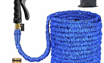 Expandable Garden Hose Water Pipe 100FT / 3 Times Expanding Flexible Magic Lightweight with 8 Function Spray Gun & Solid Brass Fittings/Anti-leakage Lightweight Easy Storage for Lawn/Pet/Car/Boat Wash (Blue)
