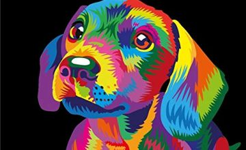 """iCoostor Paint By Numbers DIY Acrylic Painting Kit For Kids & Adults Beginner – 16"""" x 20"""" Colorful Cute Dog Pattern"""