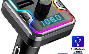 Bluetooth FM Transmitter for Car - Wireless FM Transmitter Radio Receiver Adspter Car Kit, with Dual USB & Type-C Charging Port, Music Player Support USB Drive & TF Card