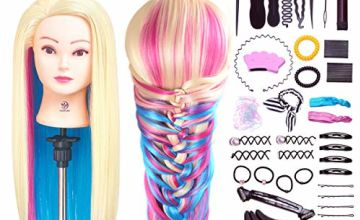 SIGHTLING 26inch 100% Synthetic Fiber Hair Training Head Cosmetology Hairdressing Mannequin Manikin Doll Head with Table Clamp Holder & DIY Hair Braid Accessoires Set
