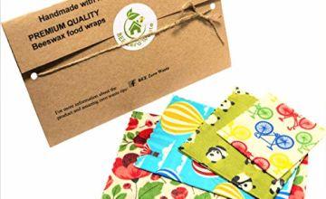 Bees Wax Wraps, set of 4, Random Colours, BEE Zero Waste, UK HANDMADE, Natural alternative to cling film, Biodegradable, plastic free food wrap, reusable sandwich wraps, eco-friendly