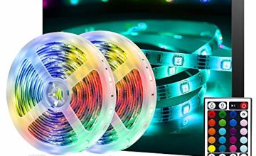 Ksipze LED Strips Lights,2x5m(10m in Total) Colour Changing Led Light Strip SMD 5050 with 44-Key IR Remote for Room,Bedroom, TV, Home, Kitchen, Holiday Decoration, Bright RGB LED Lighting Strip