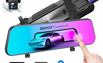 """Car Mirror Dash Cam【2020 New Version】, DMYCO 10"""" 2.5K Car Camera Front and Rear View Dual Lens with External GPS, Super Night Vision, Sony Sensor, Parking Assistance"""