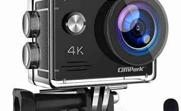 Campark X5 4K 20MP Action Camera Webcam WiFi EIS Waterproof 40M with External Microphoneand Remote Control, 2 Batteries and Mounting Accessories Kit compatible with gopro