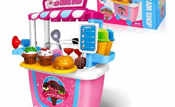 GizmoVine Ice Cream Cart Pretend Toys 31pcs Pretend Playset with Carrying Case for Over 2 Years Old Kids Toddlers (Ice Cream Cart)