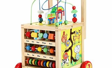 Nuheby Baby Walker Activity Cube Wooden Toys for Boys Girls 1 2 3 Years Old , 7-in-1 Activity Centres Baby Toys Educational for Children Toddler First Steps Assistant