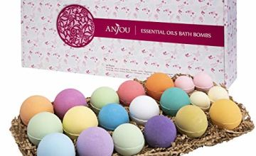 Bath Bombs Gift Set, Anjou 20 Pack Natural Essential Oils for Moisturizing Dry Skin, Perfect Gift for Kids, Girls, Women on Christmas Valentines Mother's Day (10 Scents)