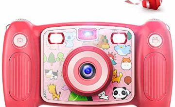 Victure Kids Camera Digital Rechargeable Selfie Action Camera 1080P HD 12MP with 2 Inch LCD Display and Shockproof Handles for Girls Boys Toys Gifts( Pink)