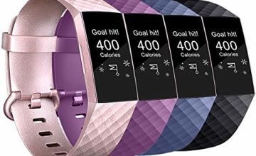AK Compatible for Fitbit Charge 3/Charge 3 Special Edition Strap, Charge 3 Straps Adjustable Replacement Sport Accessory Wristband for Fitbit Charge 3 (4-Pack Black+Rose gold+Purple+Blue, L)