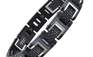 """COOLMAN 316L Stainless Steel Bracelet for Men Adjustable Fashion Bangle Bracelet with Jewellery Gift Box, 20-22 cm (8""""-8.7""""), RacingLegend-Series, Polished Steel & Black"""