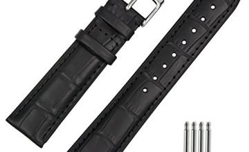 Leather Watch Strap Black Soft w/Watch Clasp Buckle Watch Band Bracelet Replacement 18mm 19mm 20mm 22mm
