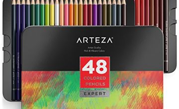 Arteza Colouring Pencils, Professional Set of 48 Colors, Soft Wax-Based Cores, for Drawing Art, Sketching, Shading & Coloring, Vibrant Coloured Pencils for Beginners & Pro Artists in Tin Box