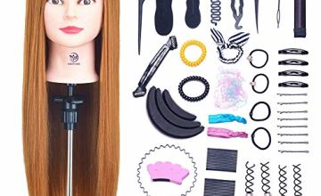 SIGHTLING 26inch 50% Real Human Hair Training Head Cosmetology Hairdressing Mannequin Manikin Doll Head with Table Clamp Holder & DIY Hair Braid Set