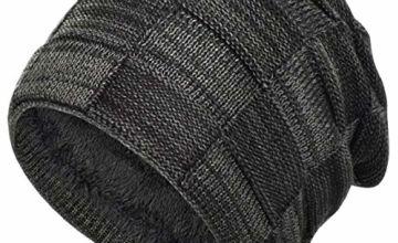 heekpek Winter Knitted Hat Beanie Hat for Men Women Unisex Knitted Hat Beanie Hat Warm Fleece Hat Mens Beanie Cap for Men Winter Ski Hat Light Grey