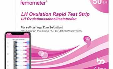 Femometer Ovulation Test Strips Kit, 50 LH OPK, Sensitive Fertility Predictor Testing Sticks, Accurate Results with Smart App (iOS & Android) Automatically Recognizing Test Results