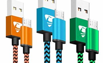 Micro USB Cable 2M 3Pack Aione Android Charger Cable Braided Android Charger Lead Fast Charging Cable for Samsung Galaxy S6 S7 Edge S5 A10 A6 J3 J4 plus J5 J6 J7, Huawei T3, Lenovo, Moto, Tablet, PS4