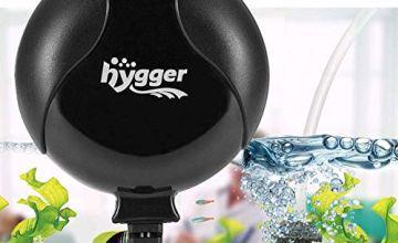 Hygger Aquarium Air Pump, Ultra Silent <33dB Fish Tank Air Pump, 1.5W 420 ml/min High Energy Saving Air Pump with Air Stone, Silicone Tube, Suction Cup and Clips, for Fish Tanks up to 55 Litre