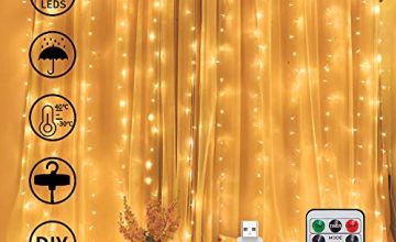 300 LED Waterproof Curtain Light with Hooks 3mX3m, Fairy String Lights with Timer 8 Modes Adjustable Brightness, USB Plug Remote Control for Bedroom Indoor Outdoor Wedding Party Garden Decoration