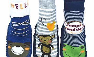 BOMPOW Baby Slipper Socks Toddler Kids Anti-slip Floor Socks for 0-24 Months Old Baby 3 Pack
