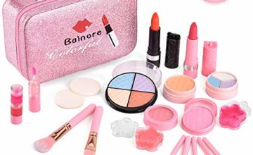 balnore Washable Makeup Toy Set, Safe & Non-Toxic,Real Cosmetic Beauty Set for Kids Play Game Halloween Christmas Birthday Party
