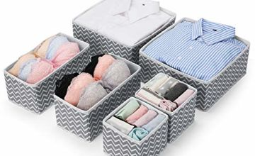 MaidMAX Set of 6 Dresser Drawer Organiser, Fabric Wardrobe Organiser for Cupboard, Drawer Insert, Closet Dividers Foldable Storage Bins Box Containers for Socks, Underwear, Bras, Ties, Scarves