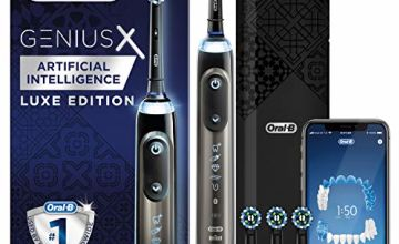 Save on Oral-B Genius X Luxe Edition with Artificial Intelligence Anthracite Grey Electric Toothbrush, 4 Toothbrush Heads, Gum Pressure Sensor, Luxury USB Charging Travel Case, UK 2 Pin Plug, Amazon Exclusive and more