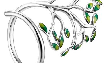SHEGRACE 925 Sterling Silver Ring with Enamel Leaves Platinum Size Q for Woman