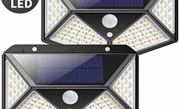 Solar Lights Outdoor, Kilponene Upgraded 100 LED Solar Motion Sensor Security Lights [1800mAh] Solar Wall Lights 270º Solar Powered Lights Waterproof Solar Lamp with 3 Modes for Garden
