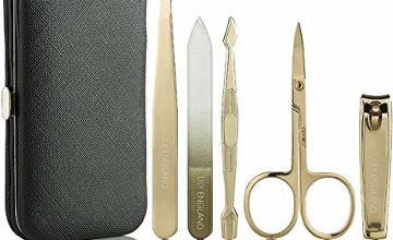 Lily England Manicure Set for Women & Girls. Professional Nail Care & Pedicure Kit with Luxury Travel Case