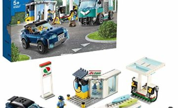 LEGO 60257 City Nitro Wheels Service Station Building Set with SUV, Camper Van and Surfboards, Car Toys for Kids