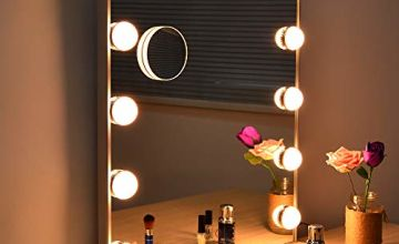 WONSTART Hollywood Mirror with Lights, Makeup Vanity Mirrors With 12 Led Bulbs Touch Control Tabletop or Wall Mounted Led Mirror