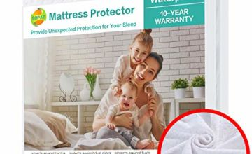 SOPAT Mattress Protector 100% Waterproof Mattress Pad Cover 3D Air Fabric, Hypoallergenic Breathable Soft Cover-Vinyl Free