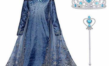 URAQT Ice Queen Princess Deluxe Fancy Costume Snowflakes Train Dress + Accessories Multiple Color