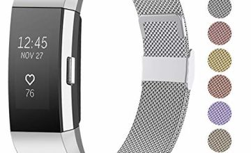 Funbiz Compatible with Fitbit Charge 2 Strap - Stainless Steel Metal Mesh Band Replacement Wist Strap Compatible with Fitbit Charge 2, Men Women Small Large