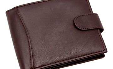 RAS Mens RFID Blocking Leather Trifold Zip Pocket Wallet 304