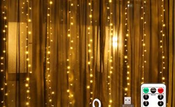LED Window Curtain String Light, Fulighture Updated 3x3m 300 LED Fairy Lights with Hook, Remote Control Timer, 8 Modes Copper Lights, USB Plug in, for Indoor Bedroom Decor Party Wedding(Warm White)
