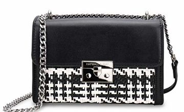 Women Woven Leather Cross Body Bag, Small Classic Black and White Shoulder Bag Stylish Handbags for Ladies (Black White)