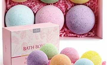 Anjou Bath Bombs Set, 6 x 110g Natural Fizzy Spa Moisturizes Dry Skin, Perfect Gift Set for Mom, Kids, Men, Women on Christmas Valentines Birthday Mother's Day